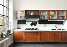 Interior, vista de la cocina Imágenes de archivo libres de regalías