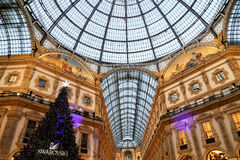 Interior at Vittorio Emanuele II Gallery on Christmas time Stock Images