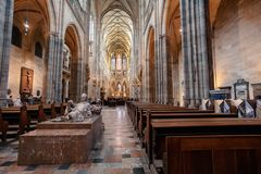 Interior of Vitus Cathedral, Czech Republic. Interior of Prague`s Gothic jewel, St. Vitus Cathedral at Prague Castle. Most important cathedral in Czech Republic royalty free stock photos