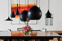 Interior vivo contemporáneo del comedor Foto de archivo