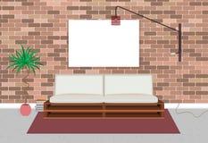 Interior vivo del dormitorio de la maqueta en estilo del inconformista con el marco, la cama, la lámpara y la pared de ladrillo v libre illustration