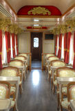 Interior of a wagon of a touristic train. Interior of a wagon of a luxurious touristic train, stationed in Latacunga, Ecuador Royalty Free Stock Photo