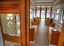 Interior of a wagon of a touristic train. Interior of a wagon of a luxurious touristic train, stationed in Latacunga, Ecuador Royalty Free Stock Image