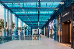 Interior Walkway in Midtown Miami. MIAMI, FL - DECEMBER 31 2014 - Miami's central art district in the Wynwood and Edgewater neighborhoods features an urban mall Royalty Free Stock Image