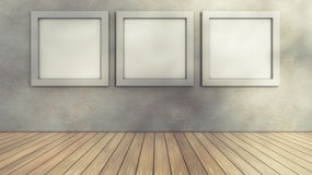 Interior wall and frames. 3d computer generated. Modern interior and frames Stock Photography
