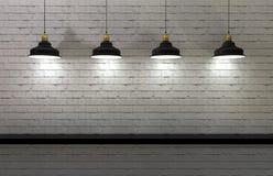 Interior wall illuminated by lamps above. 3d render of minimalist shelf, modern art, minimalist design