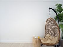 Free Interior Wall Mock Up With Chair, Coffee Table And Plant In Living Room With Empty White Wall. 3d Image Royalty Free Stock Photos - 138341838