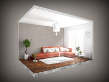 Interior without walls. 3D rendering Stock Photography