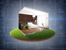 Interior without walls. 3D rendering Stock Images