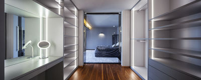Interior of wardrobe with empty shelves Royalty Free Stock Photography
