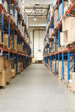 Interior Of Warehouse With Goods On Shelves Stock Photography
