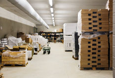 Interior of warehouse of supermarket Royalty Free Stock Photography