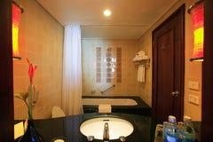 Interior of washroom, wc, toilette, bathroom, lavatory, restroom. Interior of washroom, asian wc, toilette in hotel, bathroom at resort, Thailand lavatory Royalty Free Stock Photos