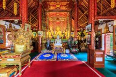 Interior of Wat Phra Sing temple in Chiang Rai, Thailand Royalty Free Stock Photos
