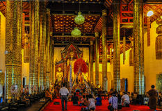 Interior of Wat Phra Singh in Chiang Mai, Thailand Royalty Free Stock Photography