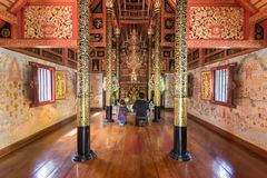 Interior of Wat Pra Sing temple in Chiang Rai in Thailand stock photos