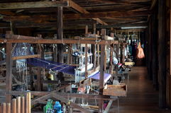 Interior of weaving and spinning factory Royalty Free Stock Photo