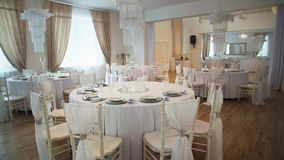 Interior of the wedding banquet room with decor stock video