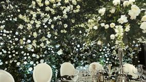Interior Of A Wedding Hall Decoration. Beautiful Served Wedding Tables