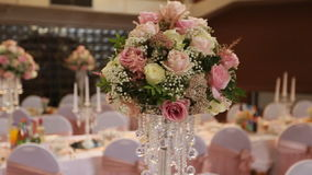 Interior of a wedding hall decoration ready for guests.Beautiful room for ceremonies and weddings.Wedding concept.Luxury