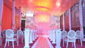 Interior of a wedding hall decoration ready for guests.Beautiful room for ceremonies and weddings.Wedding concept.Luxury stock video
