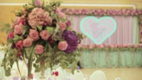 Interior of a wedding hall decoration. Wedding concept. Dynamic change of focus stock video footage