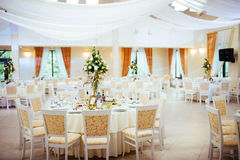 Interior of a wedding tent decoration ready for guests Stock Photos