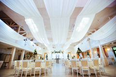 Interior of a wedding tent decoration ready for guests Stock Images