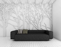 Interior whit wall and decoration Stock Images