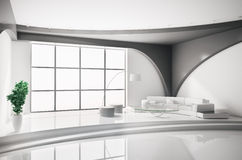Interior in white 3d Royalty Free Stock Photos