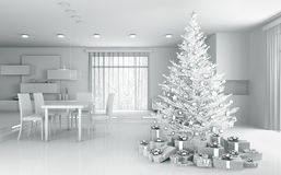 Interior of a white apartment with christmas tree 3d rendering Royalty Free Stock Photo