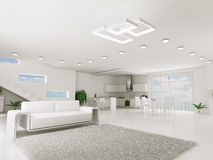 Interior of white apartment Stock Photos