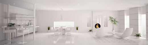 Interior of white apartment panorama 3d Royalty Free Stock Photos