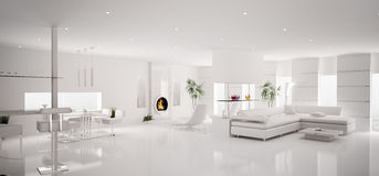 Interior of white apartment panorama 3d Royalty Free Stock Image