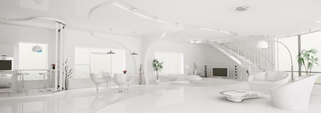 Interior white apartment panorama 3d Royalty Free Stock Photo