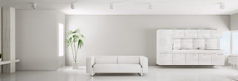 Interior of white apartment panorama 3d Royalty Free Stock Photo