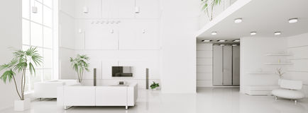 Interior of white apartment panorama 3d Royalty Free Stock Photos