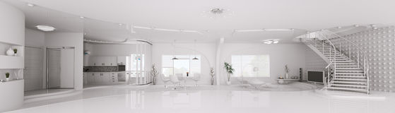 Interior of white apartment panorama 3d render Stock Images