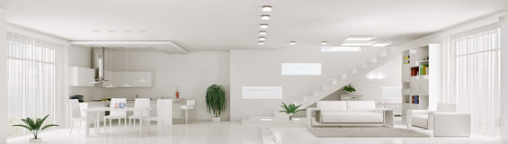 Interior of white apartment panorama 3d render Stock Photography