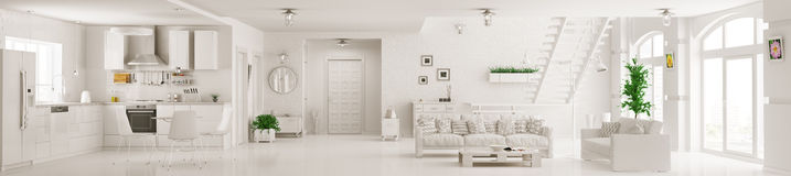 Interior of white apartment panorama 3d rendering Stock Images