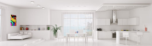 Interior of white apartment panorama Royalty Free Stock Photography