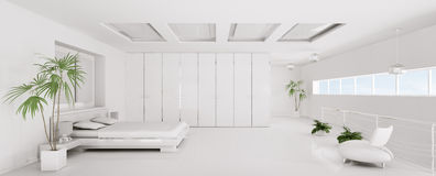 Interior of white bedroom panorama 3d render Stock Images