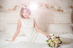 Interior white bride bed royalty free stock photo