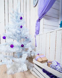 Interior with white Christmas tree Stock Photography
