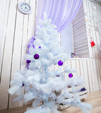Interior with white Christmas tree Royalty Free Stock Photo