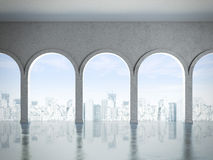 Interior with white columns. And city. 3d render Stock Photos