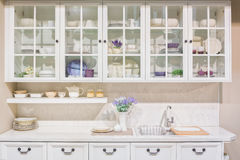 Interior of white domestic kitchen Royalty Free Stock Images