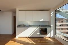 Interior, white domestic kitchen Royalty Free Stock Photos