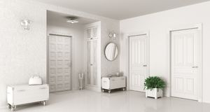 Hall interior 3d render. Interior of white entrance hall 3d render Stock Photography
