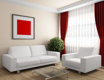 Interior with white furniture Stock Images